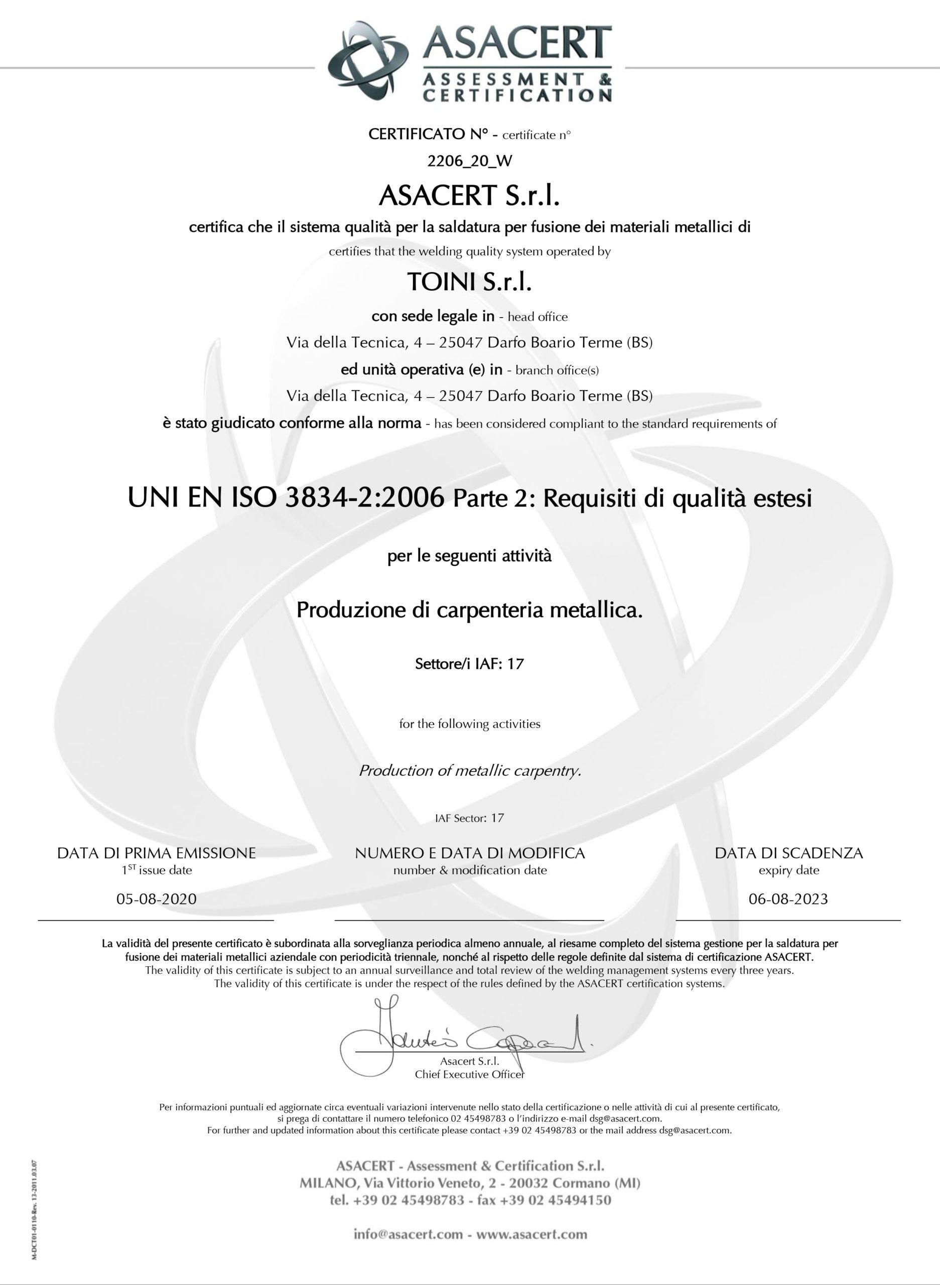 Clicca sull'immagine per scaricare la certificazione in PDF
